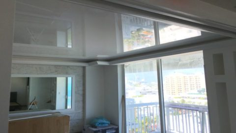 Fabric Vinyl ceiling suspended reflective Stretch Ceiling system glossy hospitality